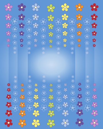 an illustration of an abstract flower design in rainbow colors on a blue background Stock Vector - 9574046