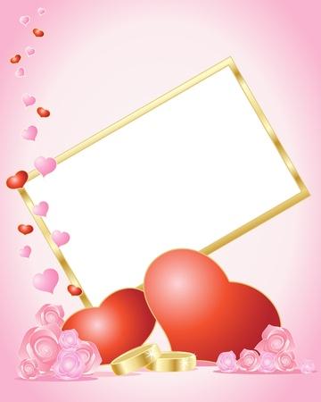 una ilustración de una invitación de boda en blanco con corazones de rojo y Rosa rosas y dos anillos de boda doradas