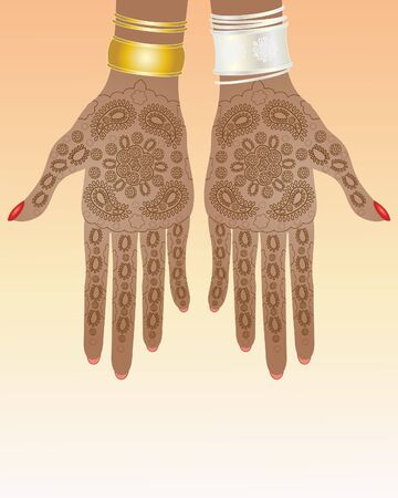 finger nail: an illustration of a pair of hands with intricate henna design and silver and gold bracelets Illustration