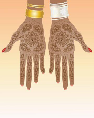 henna design: una ilustraci�n de un par de manos con el intrincado dise�o henna y brazaletes de oro y plata Vectores