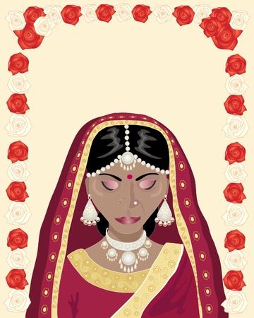 an illustration of a beautiful indian bride dressed in red and gold with scarlet and cream color roses Vector
