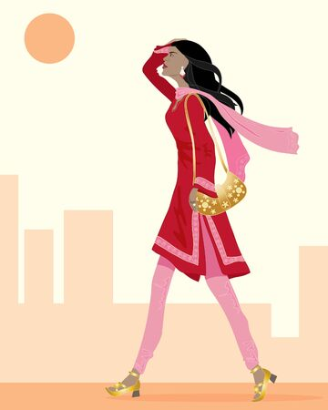 kameez: an illustration of an asian woman wearing a red and pink salwar kameez walking in a city