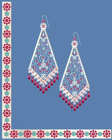 an illustration of a pair of decorative earrings with ruby and gold stones and flowers Vector