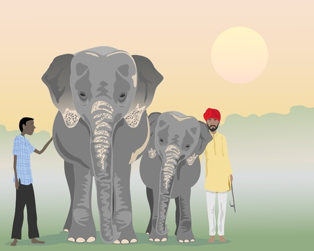 rural india: an illustration of an adult and baby indian elephant with mahouts in a jungle at sunrise