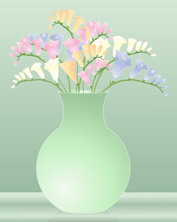 freesia: an illustration of a green vase with colorful freesia flowers Illustration