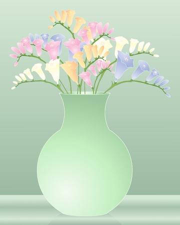 een illustratie van een groene vaas met kleurrijke fresia's bloemen Vector Illustratie