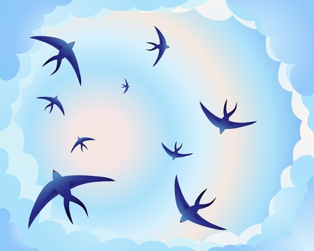 an illustration of swallows circling in a blue and pink evening sky Ilustrace
