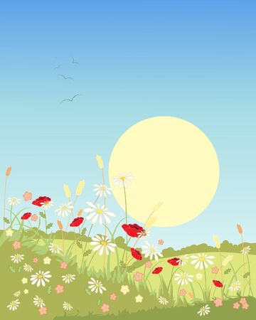 an illustration of a summer landscape with green fields and flowers under a big yellow sun Vector