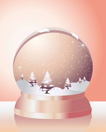 an illustration of a metallic snow dome with fir trees snow and sparkles on an orange background Vector