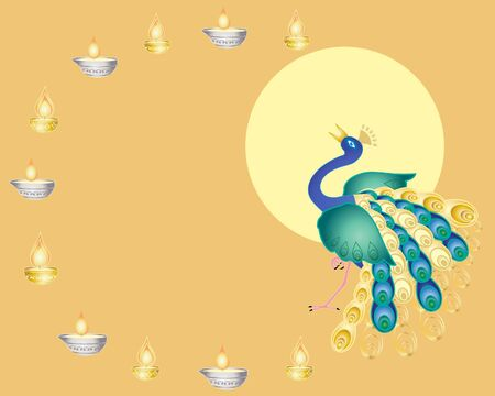 an illustration of a peacock and traditional lamps in celebration of the hindu festival of diwali Vector