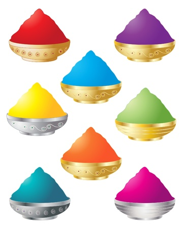 an illustration of decorative containers with colorful powder for the festival of holi Stock Vector - 9700654