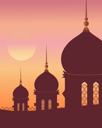 an illustration of islamic architecture with decoration in silhouette against a sunset sky