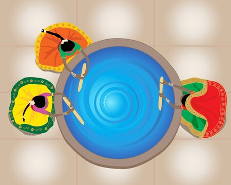 an illustration of indian ladies wearing colorful traditional clothing mixing a huge vat of blue dye viewed from above Vector