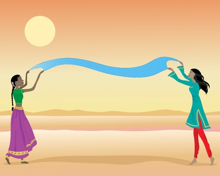 kameez: an illustration of indian ladies wearing colorful traditional clothing drying a piece of dyed cloth under a hot sun