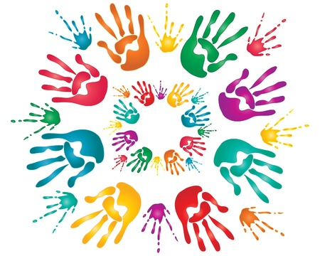an illustration of colorful hand prints and paint splashes for the hindu festival of holi Vector