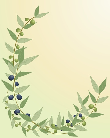 oil crops: an illustration of a green and black olive branch border with a yellow green background Illustration