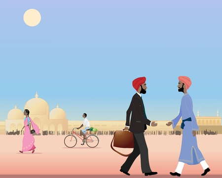 busy street: an illustration of two sikh men meeting in a busy street in india under a blue sky