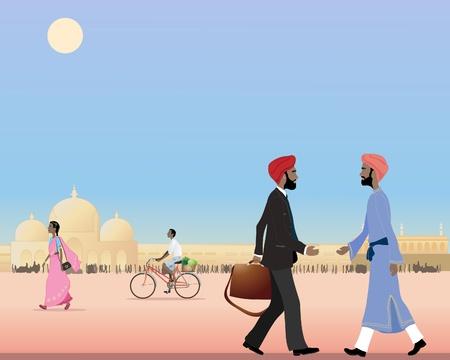 een illustratie van twee sikh mannen bijeen in een drukke straat in India onder een blauwe hemel Stock Illustratie