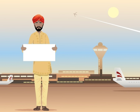an illustration of a sikh waiting at the airport terminal with name card under a dusty blue sky Ilustrace