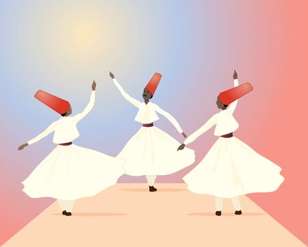 an illustration of three whirling dervishes dressed in white with red hats on a colorful background Illustration