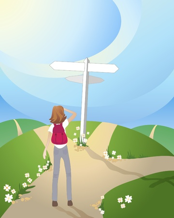 an illustration of a crossroads in the countryside with a white signpost and a woman wondering which way to go Stock Vector - 9800208