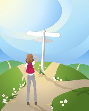 una ilustración de un cruce de caminos en las zonas rurales con una señal blanca y una mujer preguntándose qué camino a seguir Ilustración de vector