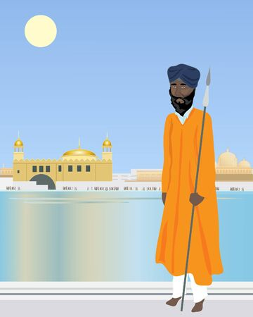sikh: an illustration of a sikh temple guard in front of a holy pool with temple and buildings under a hot blue sky