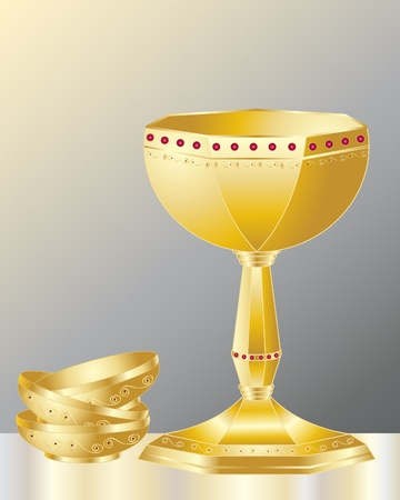 an illustration of a golden decorative chalice with fancy gold bowls on a dark background