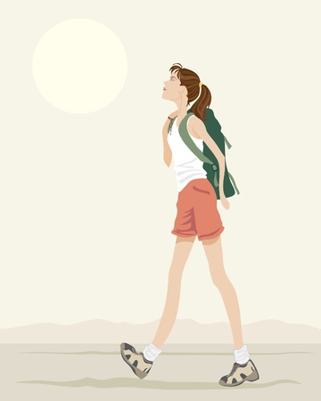 trekking: an illustration of a young woman with backpack walking under an evening sky