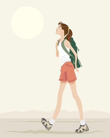 una ilustración de una mujer joven con mochila caminando bajo un cielo de noche