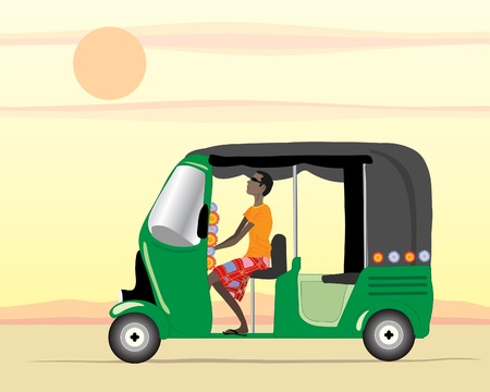 an illustration of an auto rickshaw driver in a green tuk tuk under an evening sunset