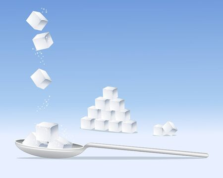 an illustration of sugar cubes on a silver spoon in a stack and tumbling from above on a blue background Vector