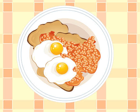 an illustration of a plate of fried eggs and baked beans with toast on a white plate Stock Vector - 9928010