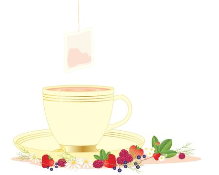 mixed fruit: an illustration of a cup of fruit tea with a saucer tea bag and mixed fruit on a white background