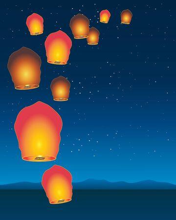 noche estrellada: una ilustraci�n de linternas de cielo chino flotando en un cielo estrellado sobre un paisaje de monta�a