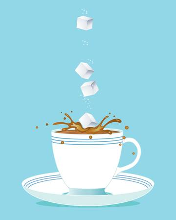 sugar cube: an illustration of sugar cubes tumbling into a refreshing cup of tea on a blue background