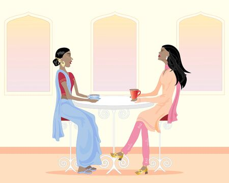 an illustration of two asian women drinking coffee and chatting in a cafe Stock Vector - 9928117