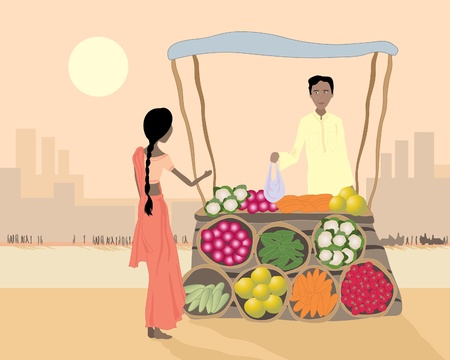 india city: an illustration of an asian street vendor selling vegetables to a woman in a busy city at sunset