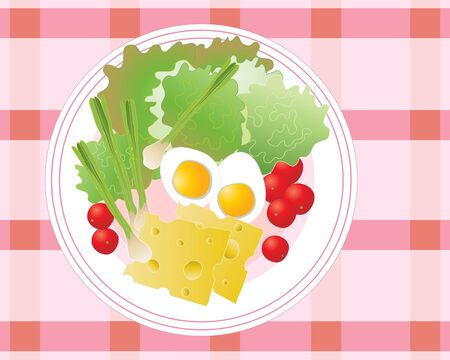 plate of food: an illustration of a healthy plate of summer salad with cherry tomatoes lettuce onions and boiled eggs
