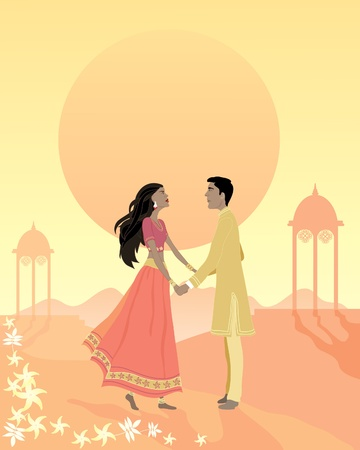 bollywood: an illustration of an asian couple standing on a hill with indian architecture under a romantic sunset holding hands