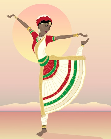 india culture: an illustration of an asian dancer in traditional clothes with sunset and mountain landscape Illustration