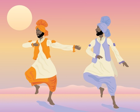 an illustration of two punjabi dancers with colorful traditional clothing dancing under a sunset sky