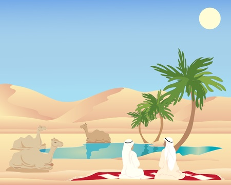 an illustration of two arab men and camels resting at a desert oasis with palm trees and a clear pool under a hot blue summer sky