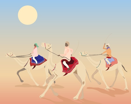 an illustration of three camels with riders racing under the desert sun