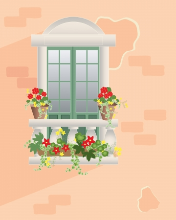 an illustration of a fancy window with balustrade and decorative flower pots against a rose colour wall in summer Ilustrace