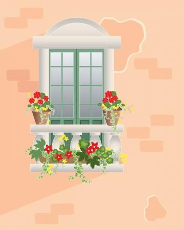 een illustratie van een fancy venster met balustrade en decoratieve bloempotten tegen een rose kleur muur in de zomer