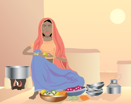 an illustration of an asian woman sitting on the ground preparing food with vegetables and cooking utensils under an evening sun
