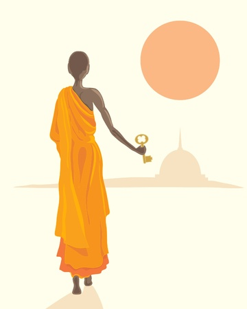 setting sun: an illustration of a buddhist monk in orange robes with a golden key with stupa and setting sun