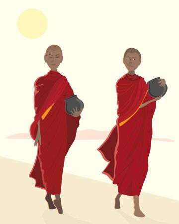 almsgiving: an illustration of buddhist monks in maroon robes on an early morning alms round with bowls under a bright yellow sun