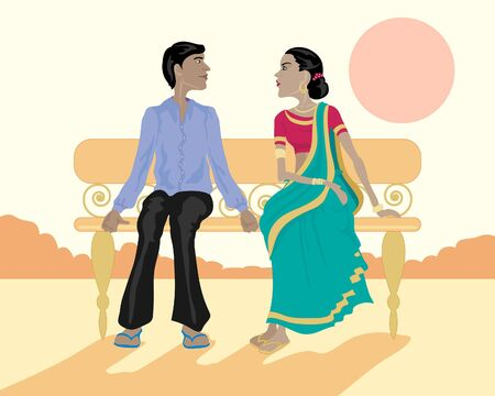 an illustration of a young asian couple sitting on a park bench at sunset Vector